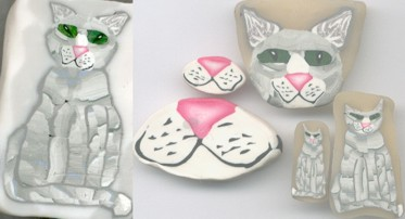 cat polymer clay cane