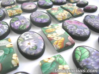 polymer clay tile beads
