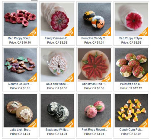 polymer clay beads on artfire