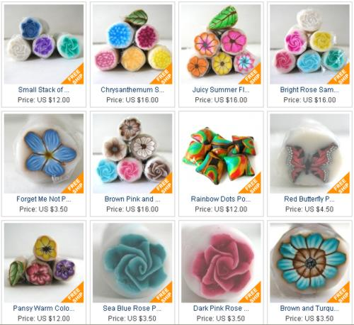 polymer clay beads and canes