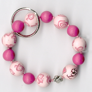 breast cancer polymer clay beads
