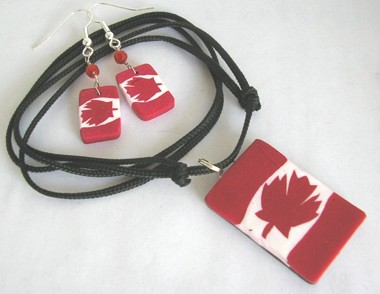 canada flag polymer clay beads