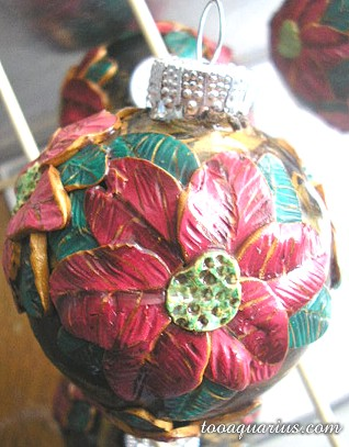 polymer clay poinsettia ornament