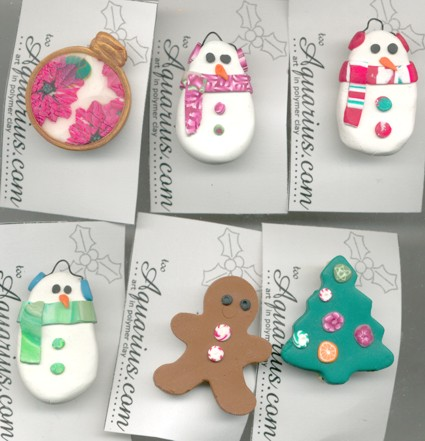 polymer clay christmas pins snowmen