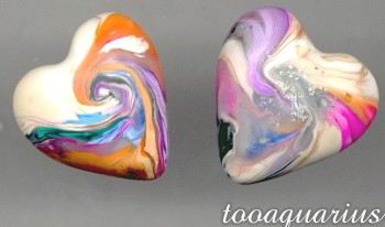 polymer clay swirly hearts