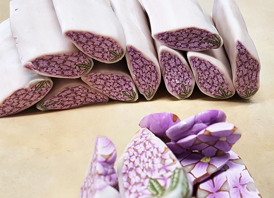 polymer clay lilac cane