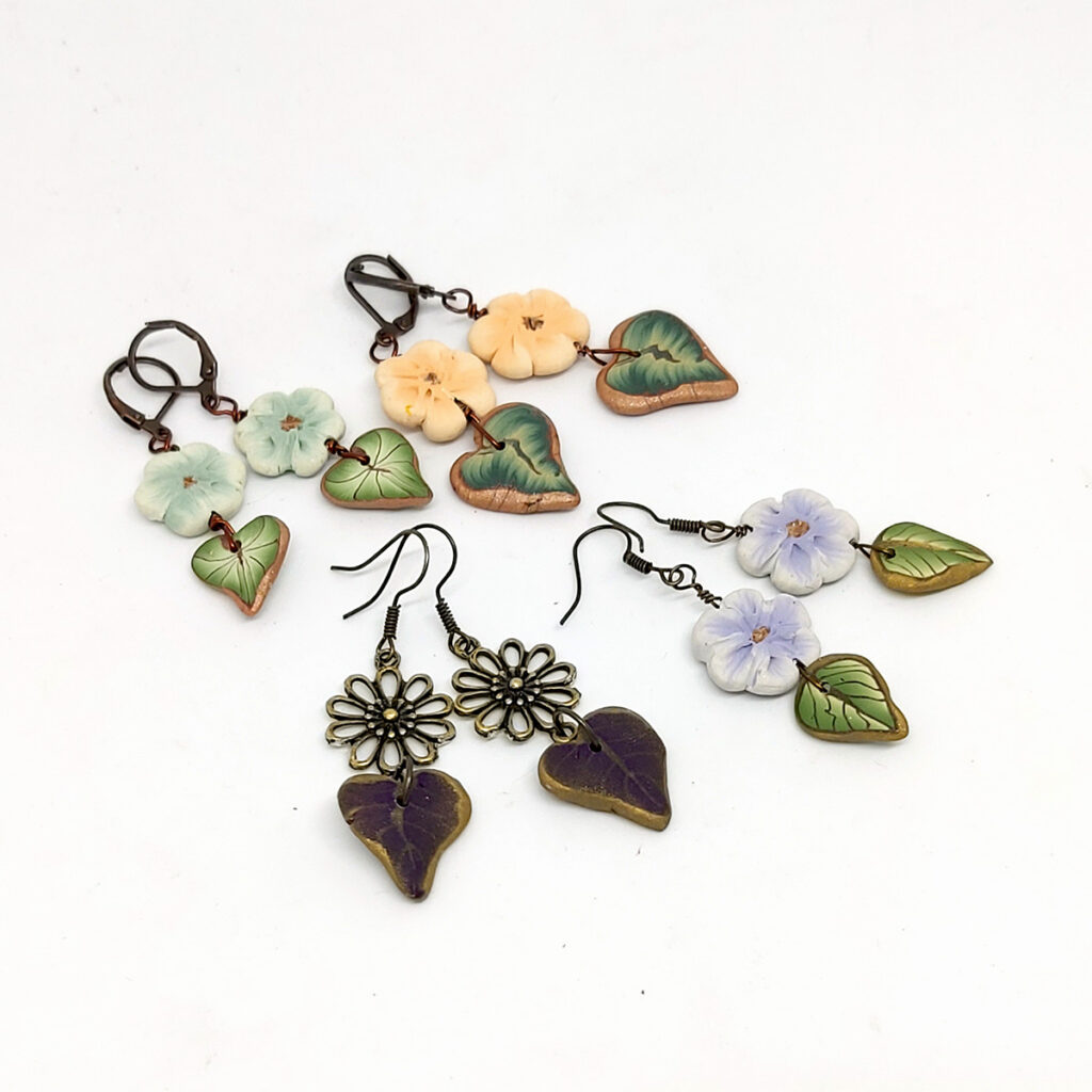 Earrings with polymer clay beads